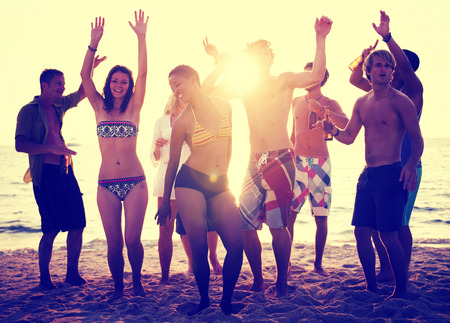 freedom leisure activity: Beach Party Summer Dancing Sunset Freedom Concept