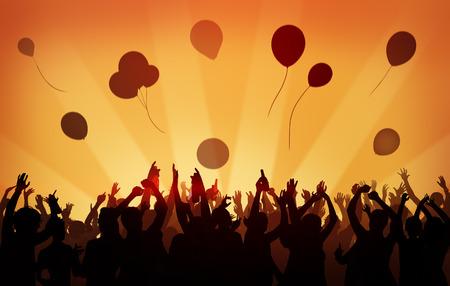 축하: 사람들 군중 파티 축하 음료의 팔 개념 제기