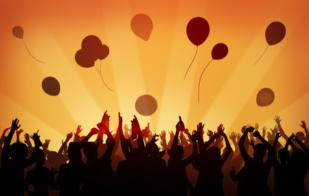 celebration: People Crowd Party Celebration Drinks Arms Raised Concept Stock Photo