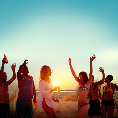 young people party: Friends Beach Party Drinks Toast Celebration Concept