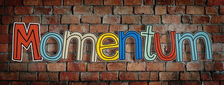 momentum: Momentum Brick wall Single Word Text Background Clean Concept