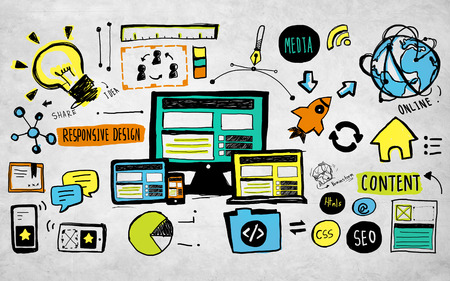 web content: Responsive Design Content Technology Idea Creativity Concept