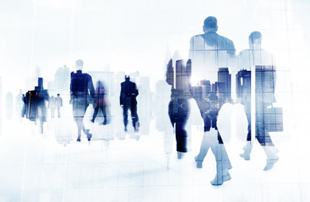 Commuter Executivos Cityscape empresarial Conceito do curso