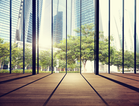 contemporary: Office Cityscape Builidings Contemporary Interior Room Modern Concept