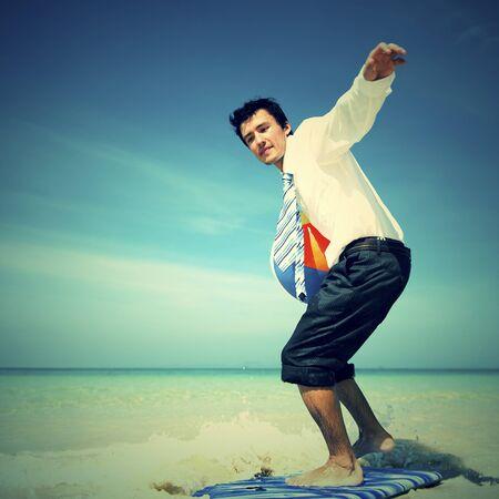 recreational pursuit: Businessman Surfing Outdoors Fun Recreational Pursuit Stock Photo