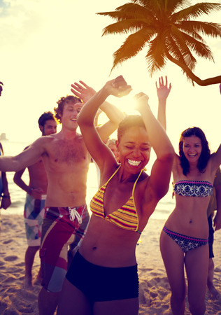 guy on beach: People Celebration Beach Party Summer Holiday Vacation Concept