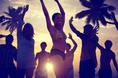 beach sun: People Celebration Beach Party Summer Holiday Vacation Concept