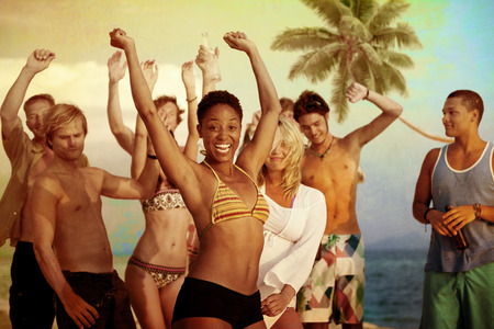 mujeres africanas: Celebraci�n Beach Party Summer Holiday Vacation Concept