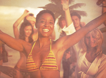 beach party: People Celebration Beach Party Summer Holiday Vacation Concept