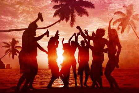 party silhouettes: People Celebration Beach Party Summer Holiday Vacation Concept