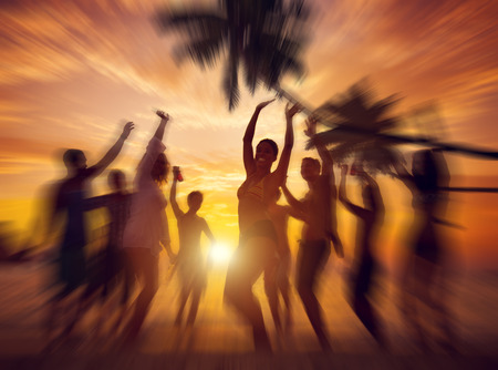 Dancing Party Enjoyment Happiness Celebration Outdoor Beach Concept Stock Photo