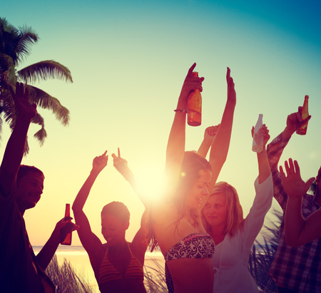 friends party: People Celebration Beach Party Summer Holiday Vacation Concept