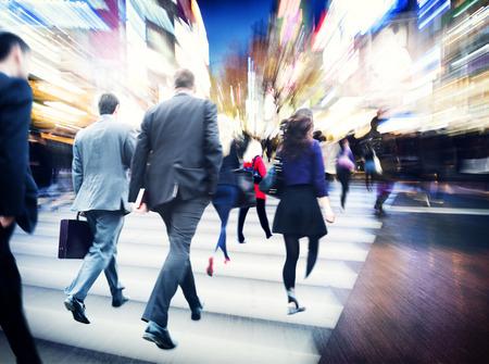 Bedrijfs Mensen Lopen Commuter Travel Motion City Concept Stockfoto - 38521245