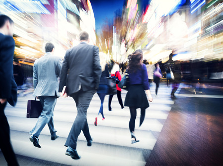 people walking street: Business People Walking Commuter Travel Motion City Concept Stock Photo
