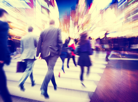 motions: Business People Walking Commuter Travel Motion City Concept Stock Photo