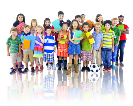 an elementary: Children Kids Students Cheerful Education Elementary Concept Stock Photo