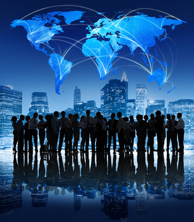 Global Communication Business Mensen Zakelijk Professional Stad Concept