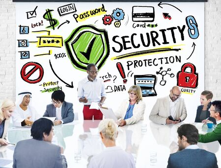 security: Ethnicity Business People Conference Discussion Security Protection Concept