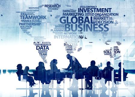 esquema: Conceptos Gente de negocios Silueta Trabajo en equipo Conferencia Global de Negocios