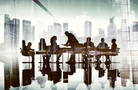 Silhouette Business People Celebration Success Cityscape Concept
