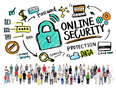 オンライン セキュリティの保護インターネット安全人多様性概念