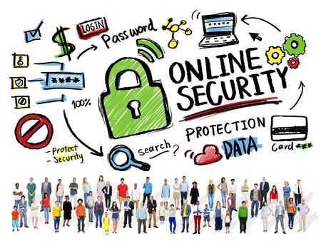 online safety: Online Security Protection Internet Safety People Diversity Concept