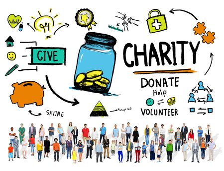 charity work: Crowd Multiethnic People Give Help Donate Charity Concept