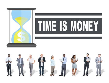 businessman waiting call: Time Money Hour Glass Business People Concept