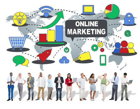 marketing online: Online Marketing Business Global Concept Stock Photo