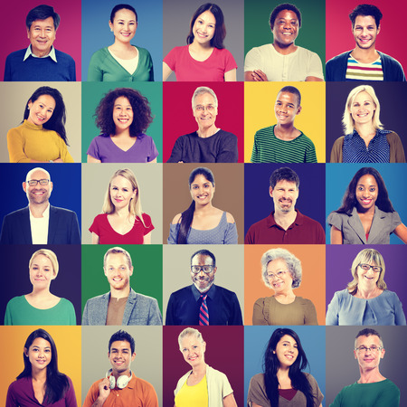 smiling faces: People Faces Portrait Multiethnic Cheerful Group Concept Stock Photo