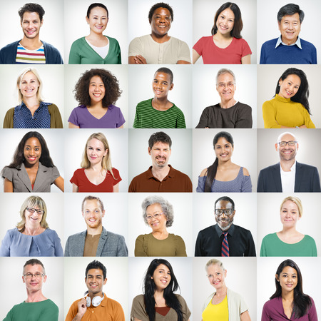 group work: People Faces Portrait Multiethnic Cheerful Group Concept Stock Photo