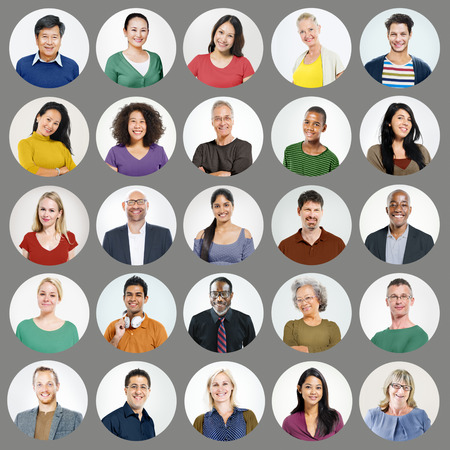 real people: People Faces Portrait Multiethnic Cheerful Group Concept Stock Photo