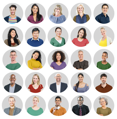 work group: People Faces Portrait Multiethnic Cheerful Group Concept Stock Photo