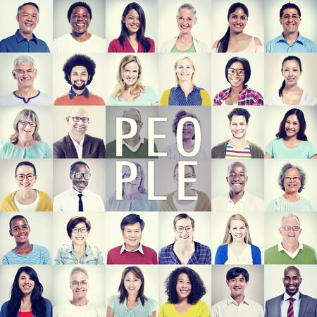 people smiling: Protrait of Group Diversity People Community Happiness Concept Stock Photo