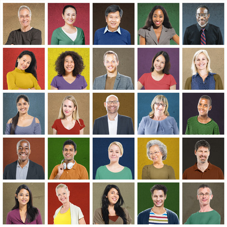 head and shoulders portrait: Diverse People Multi Ethnic Variation Casual Concept