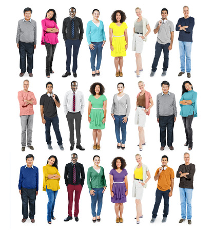 Casual Group Diverse People Social Variation Row Concept photo