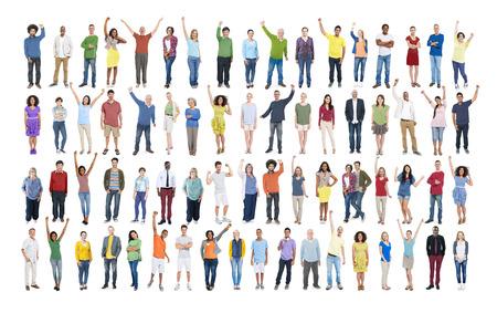 personas de pie: Diversidad Celebraci�n �xito Felicidad Comunidad concepto de multitud Foto de archivo