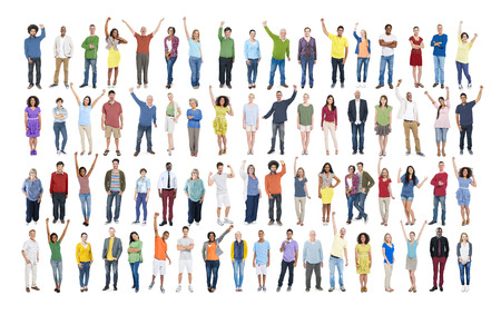 person standing: People Diversity Success Celebration Happiness Community Crowd Concept Stock Photo