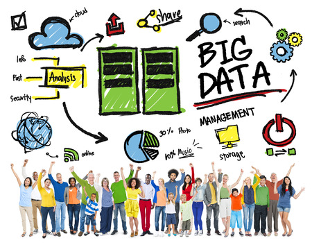 information technology: Diversity People Big Data Management Teamwork Celebration Concept Stock Photo