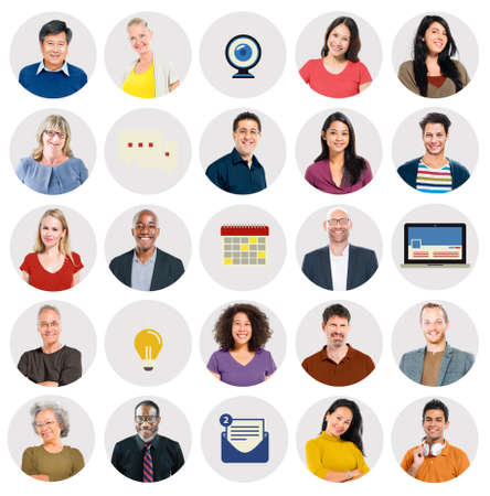 multi ethnic: Diverse Multi Ethnic People Technology Media Concept Stock Photo