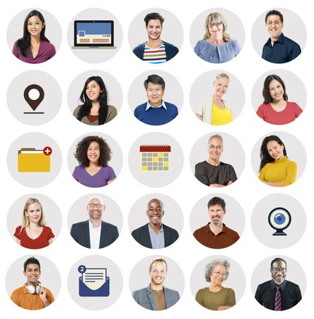 Diverse Multi Ethnic People Technology Media Concept photo