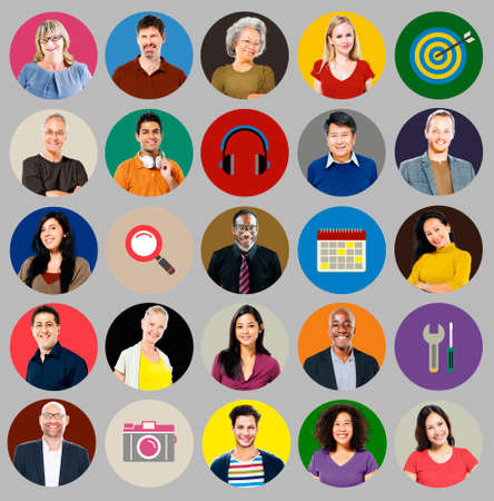 multiple targets: Diverse Multi Ethnic People Technology Media Concept Stock Photo