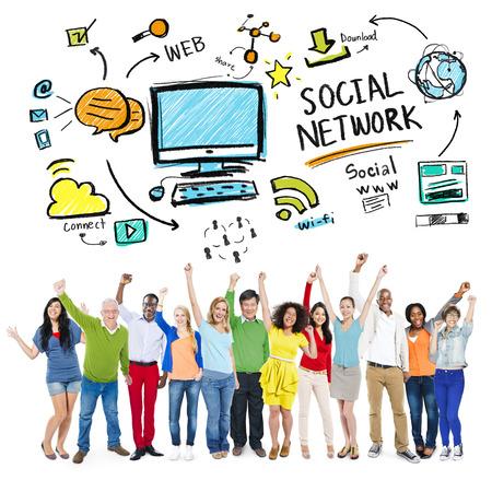 Social Network Social Media diversité personnage Festivité Concept