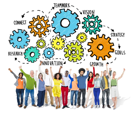happiness or success: Team Teamwork Goals Strategy Vision Business Support Concept