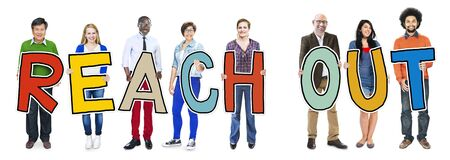 reach out: Multiethnic Group of People Holding Letter Reach Out