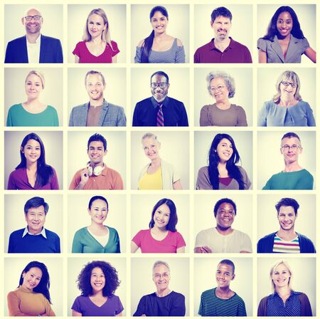 work group: Human Face Set of Faces Collection Diversity Concept Stock Photo