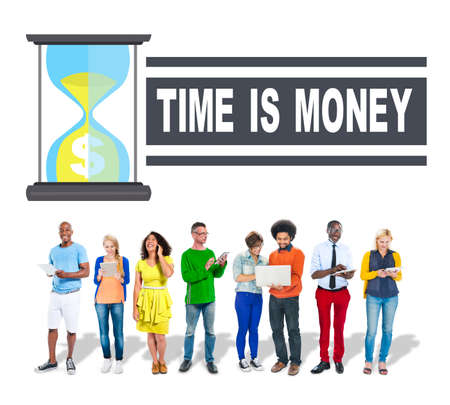 Time Money Hour Glass Business People Concept photo