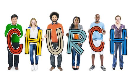 christian community: DIverse People Holding Text Church