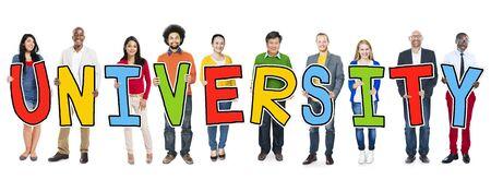 university text: Diverse People Holding Text University