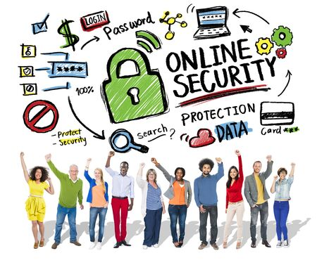 secret society: Online Security Protection Internet Safety People Success Concept Stock Photo